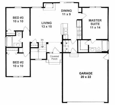 Plan # 1039 - Ranch | First floor plan