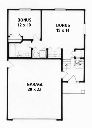 Plan # 1040 - Bi-Level | Second floor plan