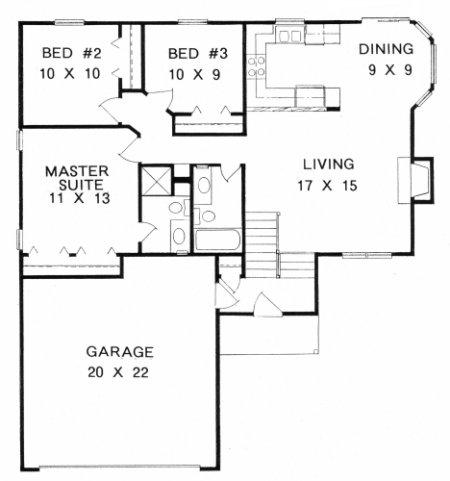 Plan # 1058 - Bi-Level   First floor plan