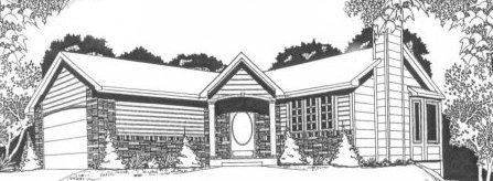 Plan # 1076 - Ranch | Large render view