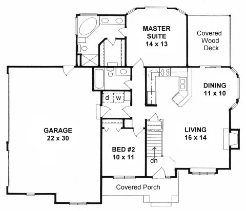 Plan 1111 2 bedroom ranch w 3 car side load garage for 3 car side load garage