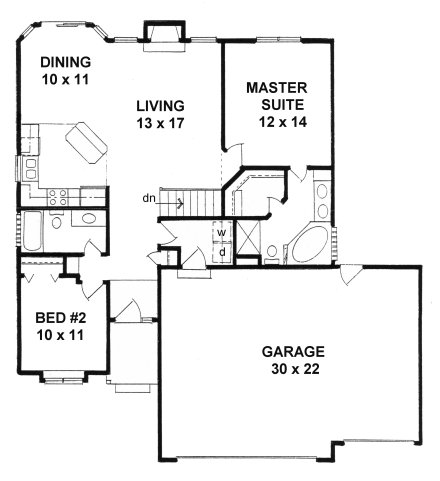 Plan 1112 ranch style small narrow lot house plan w 3 Ranch house plans with basement 3 car garage