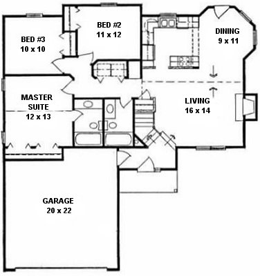 Plan # 1120 - Ranch | First floor plan