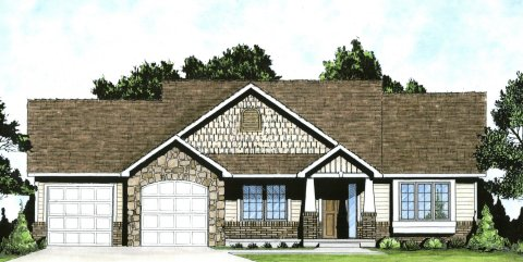 Plan # 1150 - Ranch | Large render view