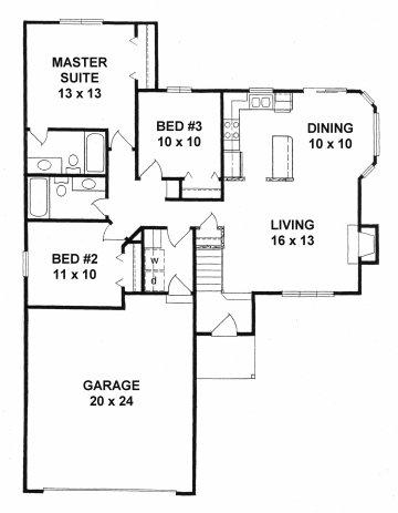 Plan # 1159 - Ranch | First floor plan