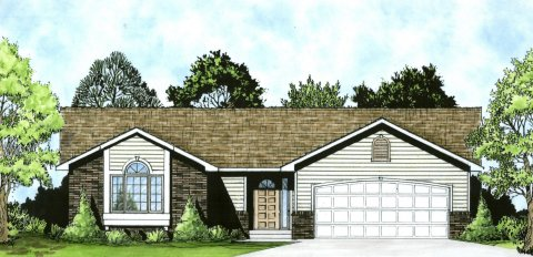 Plan # 1162 - Ranch | Large render view