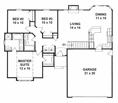 Plan # 1162 - Ranch | First floor plan
