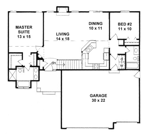 Plan # 1164 - Ranch | First floor plan