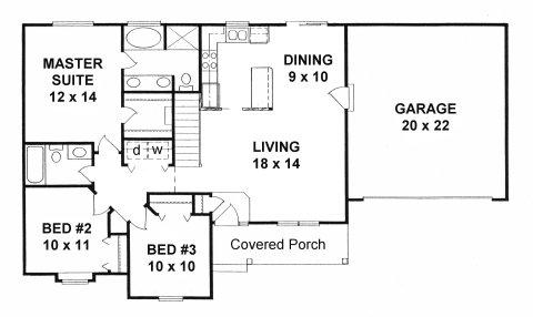 Plan # 1172 - Ranch | First floor plan
