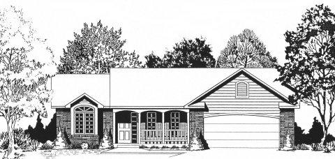 Plan # 1179 - Ranch   Large render view