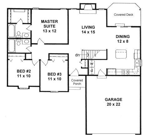 Plan 1189 ranch style small house plan w island kitchen for Ranch style house plans with large kitchen