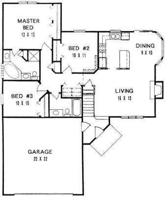 Plan # 1194 - Ranch | First floor plan