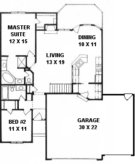 Plan # 1196 - Ranch | First floor plan
