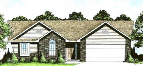 Plan # 1200 - Ranch   Large render view