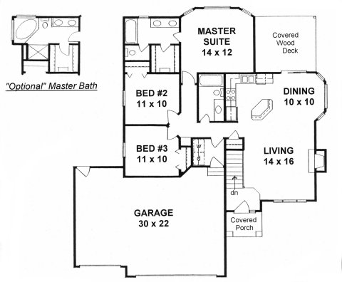 Plan # 1206 - Ranch | First floor plan
