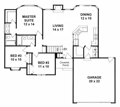Plan # 1214 - Ranch | First floor plan