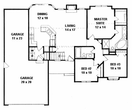 Ranch house plans with tandem garage