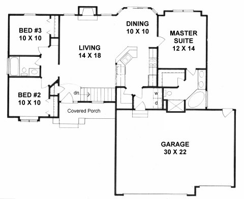 Plan # 1224 - Ranch   First floor plan