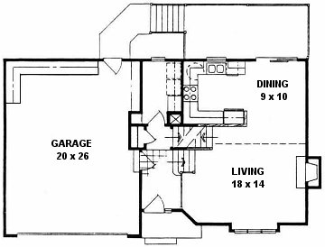 Plan # 1225 - Bi-Level | First floor plan
