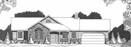 Plan # 1228 - Ranch | Large render view