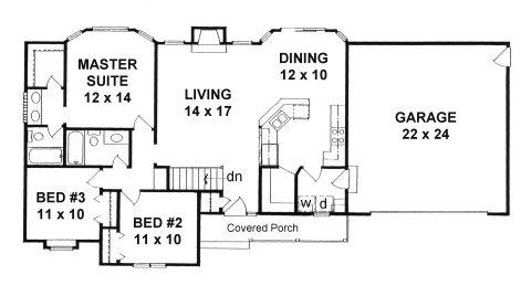 Plan # 1236 - Ranch | First floor plan