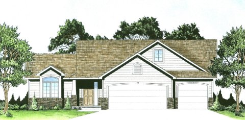 Plan # 1239 - Ranch | Large render view