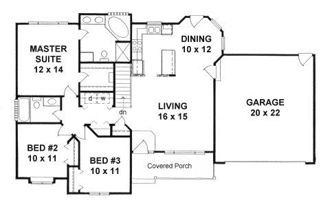Plan # 1240 - Ranch | First floor plan