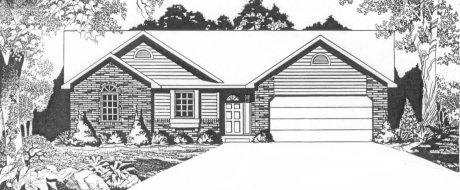 Plan # 1242 - Ranch | Large render view
