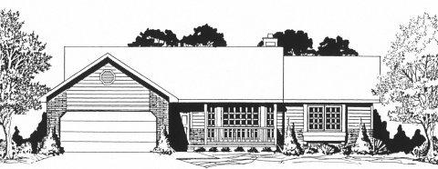 Plan # 1244 - Ranch | Large render view