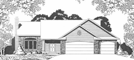 Plan # 1254 - Ranch | Large render view