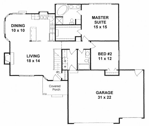 Plan # 1254 - Ranch | First floor plan
