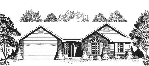 Plan # 1264 - Ranch | Large render view