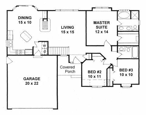 Plan # 1264 - Ranch | First floor plan