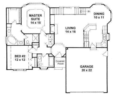 Plan # 1265 - Ranch | First floor plan