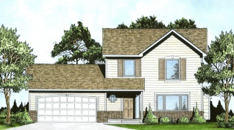 Plan # 1269 - 2- Story | Large render view