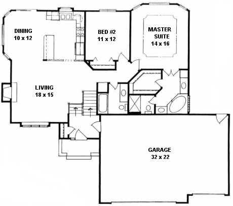 Plan # 1270 - Bi-Level | First floor plan
