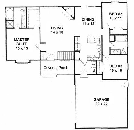 Plan # 1271 - Ranch   First floor plan