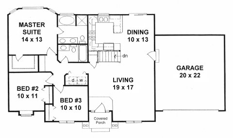 Plan # 1272 - Ranch | First floor plan