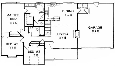 Plan # 1283 - Ranch | First floor plan