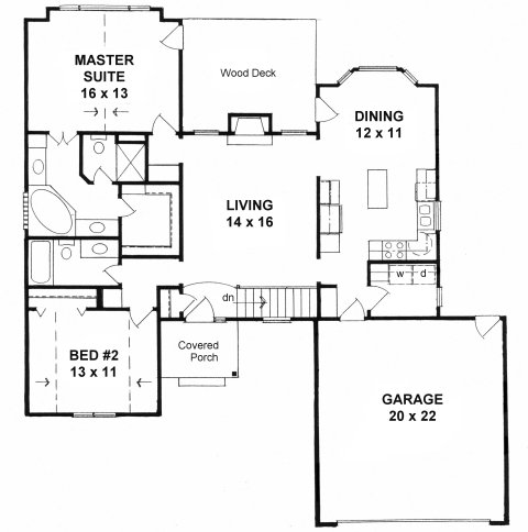 Plan # 1287 - Ranch | First floor plan
