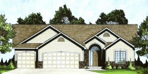 Plan # 1295 - Ranch | Large render view