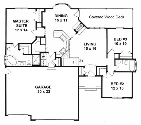 Plan # 1295 - Ranch | First floor plan