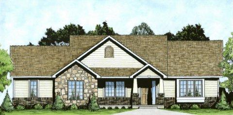 Plan # 1309 - Ranch   Large render view