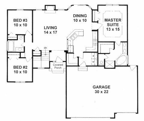 Plan # 1315 - Ranch   First floor plan
