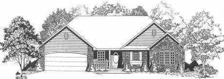 Plan # 1318 - Ranch   Large render view