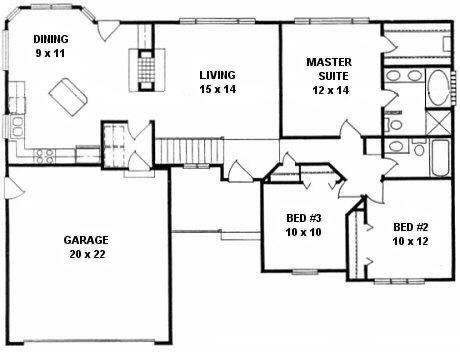 Plan # 1318 - Ranch   First floor plan
