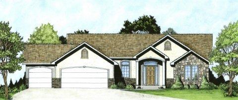 Plan # 1336 - Ranch | Large render view