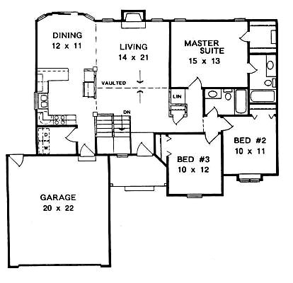 Plan # 1338 - Ranch | First floor plan