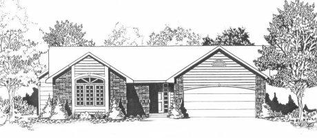 Plan # 1340 - Ranch | Large render view
