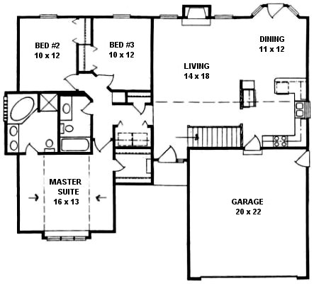 Plan # 1340 - Ranch | First floor plan